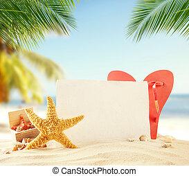 Summer beach accessories with empty paper - Summer...