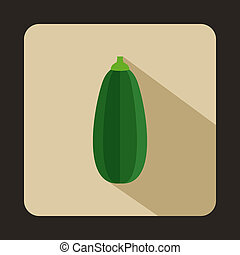 Green zucchini vegetable icon, flat style - Green zucchini...