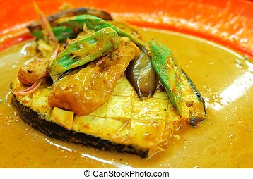 Fish head curry delicacy - Vegetarian fish curry cooked...
