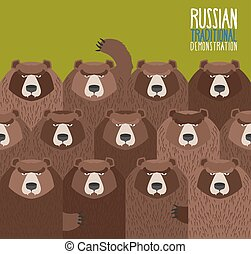 Russian national demonstration Bears came out on strike