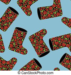 Valenki khokhloma seamless pattern. National Russian winter footwear from felt. Traditional ornament embroidery on black warm shoes.