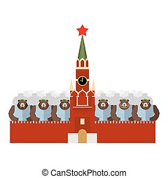 Moscow Kremlin and bears Many Russian evil animals sit in...