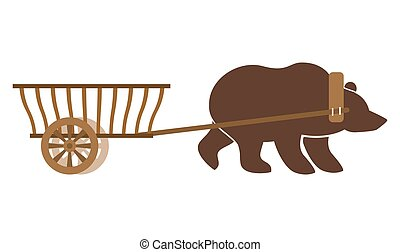 Russian wain and bear Traditional carriage in Russia...