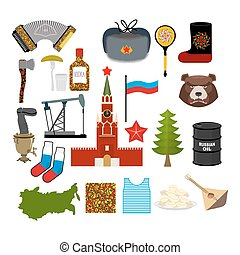 Russia symbol set Russian national character State...