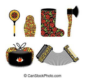 Russian souvenir set Khokhloma painting. Russia traditional national symbols. Spoon and matryoshka. Decorative Valenok and painted axe. Earflaps hat and harmonica, accordion