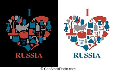 I love Russia Sign heart of traditional folk symbol...
