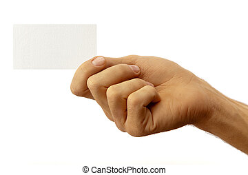 The hand of man shows a business card. Isolated on white