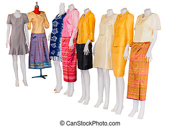 Thai dresses on mannequins isolate white background with...