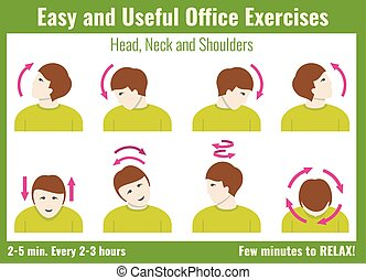 Office syndrome infographic. Exercises with businessman....