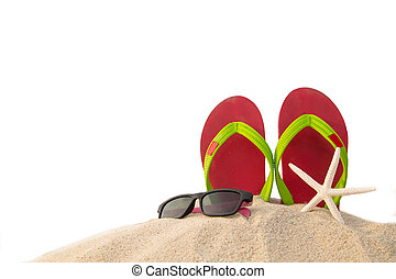 Red flip flops ,sun glass and star fish on beach in summer...