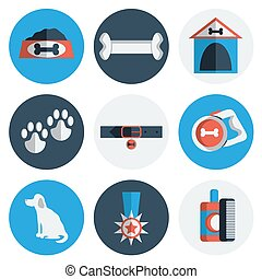 Flat Dog icons - Dog icons flat set with dung kennel leash...