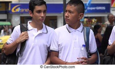 Boys Teen Students Walking