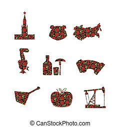 Russia symbol set Russian national sign painted Khokhloma...