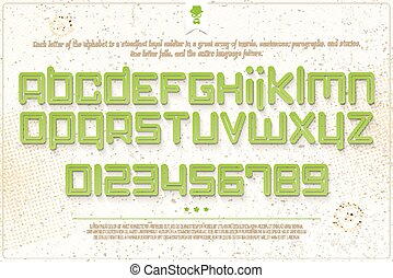 green font - set of green outline alphabet letters and...