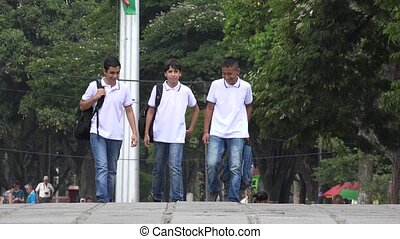 Teen Students Walking To School
