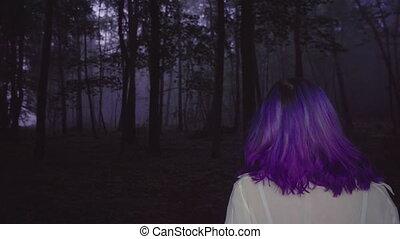 Woman walk in forest, 4k video.