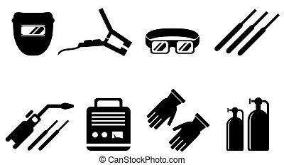 set of welding equipment - set of black welding equipment...
