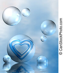 divine love - blue abstract composition with hearts,...