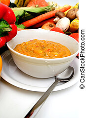 Fresh Veggies And Vegetable Soup - A bowl of warm creamy...