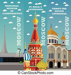 Moscow tourist landmark banners. Vector illustration with...