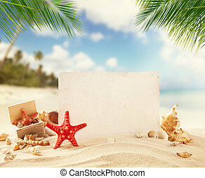 Summer beach with empty paper - Summer sandy beach with...