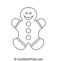 Gingerbread cookie icon, outline style - Gingerbread cookie...
