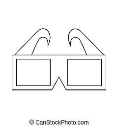 3D cinema glasses icon, outline style - 3D cinema glasses...