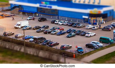 Car park in the evening, time lapse video