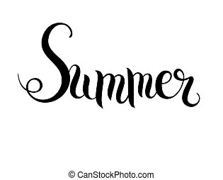 summer hand written lettering inscription, vector - black...