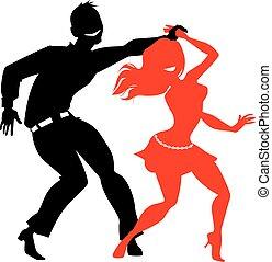 Salsa dancers - Young couple dancing salsa, EPS 8 black and...