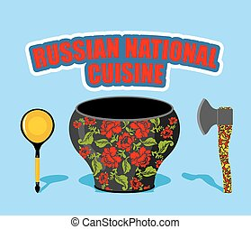 Russian national cuisine. Pot with traditional floral patterns Khokhloma. Russians cutlery: AXe and wooden spoon.