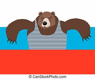 Russian patriot bear and Russia flag Wild animal World...