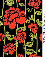 Red Roses on long stems. Seamless pattern of flowers
