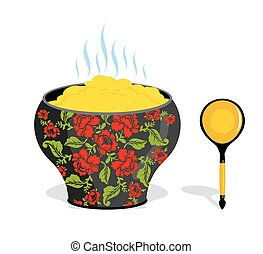 Russian pot of porridge. National Folk wooden spoon. Traditional dishes in Russia villages. Kitchen utensils painting Khokhloma