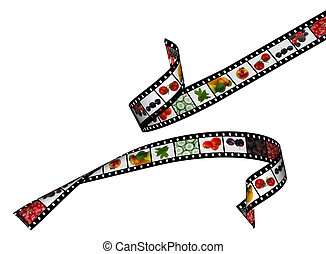 film stripes with beautiful healthy food images, high detail...