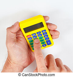 Hands holding a pocket digital calculator on white...