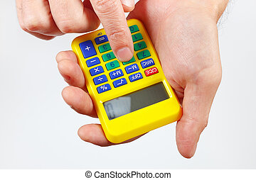 Hands holding a calculator on white background - Hands...