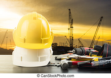Labor day tools and equipment for work in construction site...