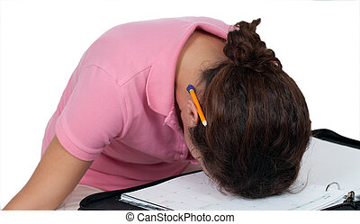 I Give Up - upset woman with head resting on planner