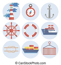 Sea port flat icons set with anchor container ship lifebelt...