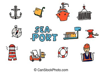 Sea port colorful icons set with ships and marine transport...