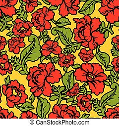 Khokhloma Russian national seamless pattern. Historic...