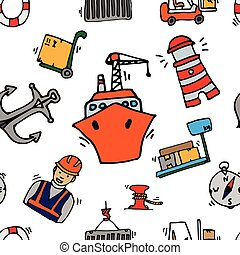 Sea port colorful icons pattern with ships and marine...