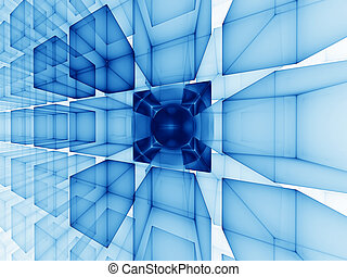 blue cubic perspective