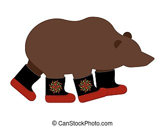 Russian Bear in boots Russian National animal winter warm...