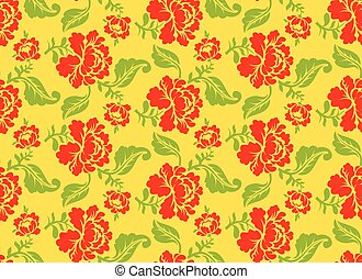 Khokhloma Russian national seamless pattern. Historic Cultural Decorative seamless design. Traditional Folk Ornament in Russia. Red flowers on gold yellow background. Patriotic Flower texture