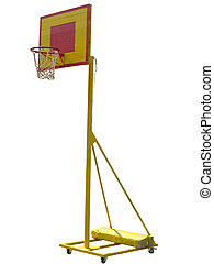 Portable basketball hoop board on white background -...