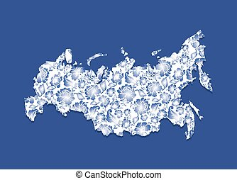 Russia Map Gzhel painting Traditional Russian pattern State...