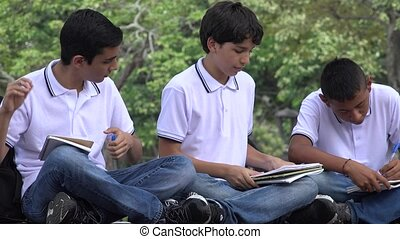 Teen School Students Studying