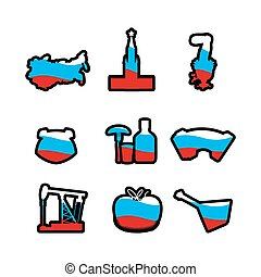 Russian icons silhouette Traditional Russian folk characters...
